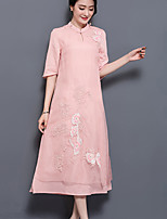 Women's Plus Size Casual/Daily Simple Loose Dress,Solid Embroidered Stand Midi ¾ Sleeve Polyester Spring Summer Mid Rise Inelastic Medium
