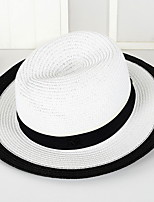 British Summer Straw Hat Cap Patchwork Round Wide Brim Hawaii Folding Soft Sun Hat Casual Foldable Brimmed Beach Hats For Women