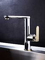 Art Deco/Retro Standard Spout Centerset Widespread with  Ceramic Valve Single Handle One Hole for  Ti-PVD , Kitchen faucet