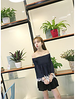 Women's Casual/Daily Simple Blouse,Solid Boat Neck ¾ Sleeve Cotton