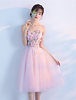 Cocktail Party Dress - Elegant A-line Strapless Tea-length Tulle with Beading Flower(s)