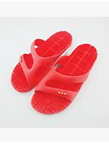 Damen-Slippers & Flip-Flops-Lässig-Gummi-Flacher Absatz-Fersenriemen-Schwarz Rot Blau