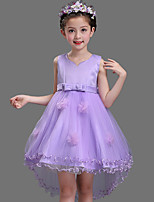 Ball Gown Asymmetrical Flower Girl Dress - Cotton Lace Tulle V-neck with Bow(s) Flower(s)