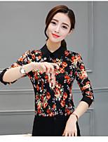 여성 플로럴 셔츠 카라 긴 소매 Polo,심플 데이트 면