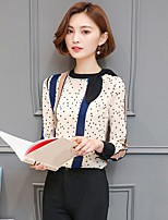 Women's Going out Casual/Daily Holiday Sexy Simple Cute All Seasons Summer Blouse,Geometric Crew Neck Long Sleeve Rayon