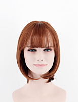 Japan and South Korea latest fashion lady short paragraph wig red brown straight straight bangs high temperature wire wig