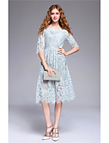 YANG X-M Women's Going out Casual/Daily Cute Lace DressEmbroidered Round Neck Knee-length  Length Sleeve Polyester Spring Summer Mid Rise