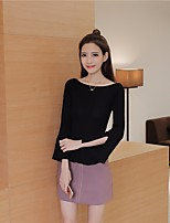 Women's Going out Work Holiday Sexy Regular Cardigan,Solid Round Neck Long Sleeve Others Fall Medium Stretchy