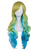 Три цветные тоны colorietn красочный парик высокая температура cosplay симпатичный парик Lolita длинный длина body волна стиль хараюку
