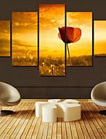 Art Print Floral/Botanical Pastoral Five Panels Horizontal Print Wall Decor For Home Decoration