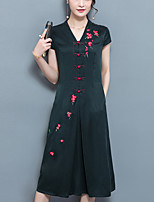 Women's Plus Size Going out Vintage A Line Dress,Solid Embroidered V Neck Midi Short Sleeve Polyester Summer Mid Rise Inelastic Medium