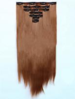 7pcs/Set 130g Medium Auburn Straight 50cm Hair Extension Clip In Synthetic Hair Extensions