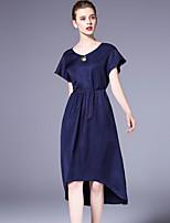 Damen Hülle Kleid-Ausgehen Lässig/Alltäglich Arbeit Einfach Anspruchsvoll Solide Rundhalsausschnitt Asymmetrisch Kurzarm Seide Leinen