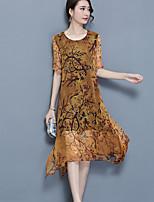 Women's Plus Size Going out Vintage Loose Dress,Print Round Neck Asymmetrical Short Sleeve Nylon Summer Mid Rise Micro-elastic Medium