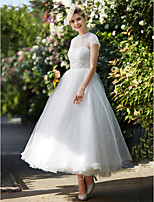 2017 LAN TING BRIDE A-line Wedding Dress - Classic & Timeless Vintage Inspired Ankle-length High Neck Lace Tulle with Sash / Ribbon