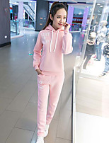 Women's Casual/Daily Sports Simple Active Hoodie Pant Suits,Letter Hooded Long Sleeve strenchy