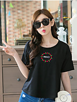 Women's Casual/Daily Simple T-shirt,Solid Floral Round Neck Short Sleeve Cotton
