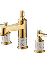 Antique Luxury Style Deck Mounted Widespread with  Brass Valve Two Handles Three Holes for  Ti-PVD  Bathroom Basin Sink Faucet