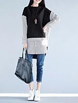 Women's Going out Casual/Daily Simple T-shirt,Solid Patchwork Round Neck Long Sleeve Others