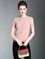여성 솔리드 라운드 넥 짧은 소매 티셔츠,섹시 심플 귀여운 데이트 캐쥬얼/데일리 비치 폴리에스테르 여름 중간