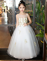 Princess Ankle-length Flower Girl Dress - Lace Tulle Sequined Jewel with Beading Crystal Detailing Lace