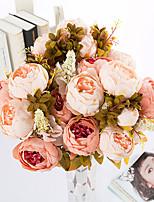 1 Une succursale Polyester Pivoines Fleur de Table Fleurs artificielles