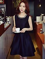 Для женщин На выход На каждый день Вечеринка/коктейль Винтаж Уличный стиль Изысканный А-силуэт Оболочка Маленькое черное Платье Однотонный