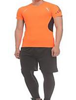 Муж. Короткие рукава Бег Спортивный костюм Дышащий Удобный Лето Спортивная одежда Бег Полиэстер ОблегающиеЧерный Оранжевый