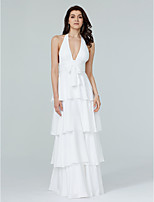 LAN TING BRIDE Floor-length Halter Bridesmaid Dress - Beautiful Back Sleeveless Chiffon
