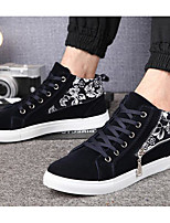 Men's Boots Spring Fall Comfort Canvas Casual Dark Blue Black White