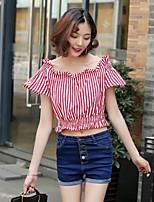 Feminino Camiseta Para Noite Casual Sensual Simples Moda de Rua Verão,Listrado Floral Bordado Seda Algodão Decote Canoa Manga CurtaFina