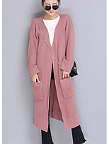 Women's Going out Long Cardigan,Solid Shirt Collar Long Sleeve Others Spring Medium Micro-elastic