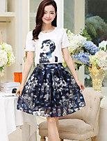 Women's Casual/Daily Simple T-shirt Skirt Suits,Print Round Neck Short Sleeve Micro-elastic