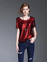 Kortærmet Rund hals Medium Damer Ensfarvet Forår Sommer Sødt I-byen-tøj Afslappet/Hverdag Skjorte,Polyester