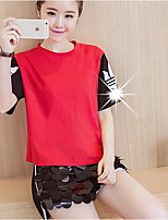 Women's Casual/Daily Simple Summer T-shirt Pant Suits,Print Round Neck Short Sleeve Cotton
