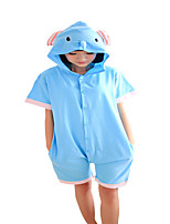 Kigurumi Pajamas Cartoon Leotard/Onesie Festival/Holiday Animal Sleepwear Halloween Blue Solid Cotton Cosplay Costumes ForUnisex Female