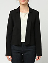 Women's Casual/Daily Simple Spring Blazer,Solid Round Neck Long Sleeve Regular Polyester