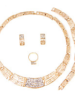Set de Bijoux Collier Nuptiales Parures Strass Mode euroaméricains Simple Style Classique Strass Formé Carrée Or1 Collier 1 Paire de
