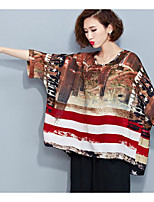 Women's Going out Casual/Daily Street chic Sophisticated Blouse,Animal Print Round Neck Long Sleeve Silk Cotton Rayon