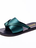 נשים כפכפים & כפכפים נוחות נעלי מועדון דמוי עור אביב קיץ שמלה יומיומי עקב שטוח שחור ירוק צבא ירוק שטוח