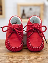 Kids' Baby Loafers & Slip-Ons Comfort Cowhide Spring Fall Casual Comfort Flat Heel White Ruby Blushing Pink 1in-1 3/4in