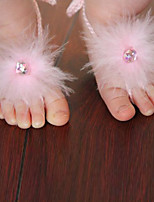 Kids Fabric Plastic Baby Pearl Shoes Feather Water Drill Feet Foot Rings