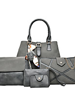 Women Bags All Seasons PU Bag Set with for Casual Green Black Red Gray