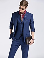Suit Slim Fit Flat Collar Single Breasted One-button Checked 3 Pieces Royal Blue