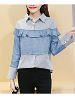 Women's Going out Simple Shirt,Striped Shirt Collar Long Sleeve Polyester