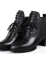 -Для женщин-Повседневный-Кожа-На низком каблуке-Удобная обувь-Ботинки