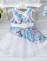 Girl's Casual/Daily Holiday School Floral Dress,Cotton Polyester Summer Sleeveless
