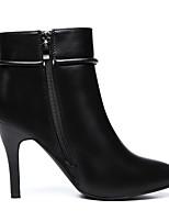 Черный Красный-Для женщин-Повседневный-Полиуретан-На толстом каблуке-Босоножки-Обувь на каблуках