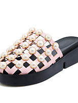 Women's Sandals Summer Slingback Creepers Comfort Light Soles Leatherette Outdoor Dress Casual Creepers Beading Imitation PearlBlushing