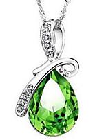 Mulheres Colares com Pendentes Colares em Corrente Cristal Gema Imitação de Diamante Caído Strass Vidro LigaBásico Original Com Logotipo
